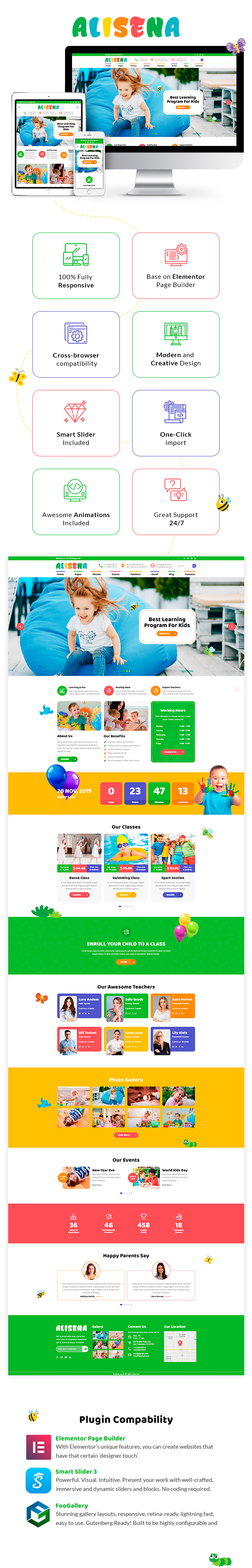 Alisena - Kindergarten & Preschool WordPress Theme - 1