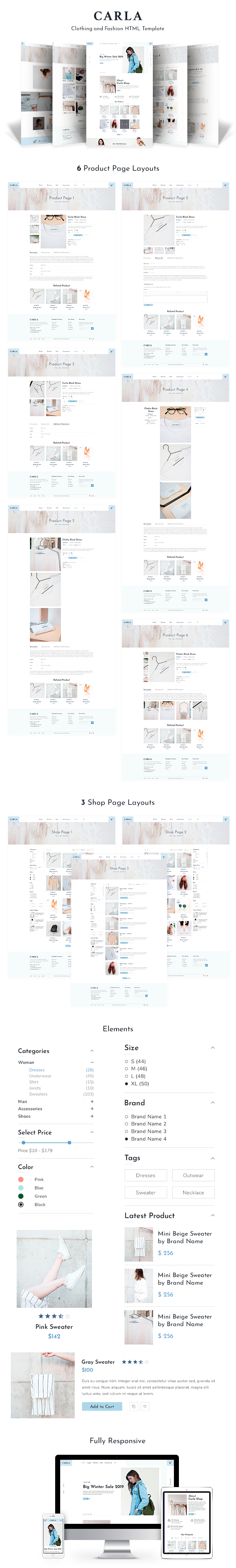 Carla - Clothing and Fashion HTML Template - 1